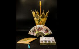 A Small Collection Of Oriental Items To include an early 20th century paper parasol with hand