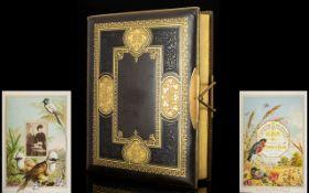 A Victorian Carte De Visite Album 'Flower And Feather,