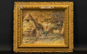 A 19th Century Landscape Watercolour Housed in period gilt gesso frame,