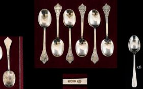 Sterling Silver Charles II Before and After Reproduction Box Set of Six ' Trifid ' Lace Back Spoons.