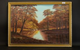 Keith Sutton Oil On Board Autumnal landscape with river. Signed and dated Sutton 1983. Gilt swept
