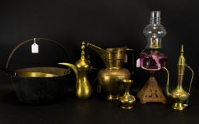 A Collection Of Decorative Metalware Items Five pieces in total to include brass bud vase with red