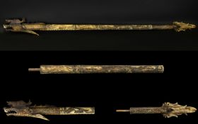 Oriental Long Three Section Carved Dragon Style (possibly Indonesian) Blow Pipe. 41'' (104 cm)