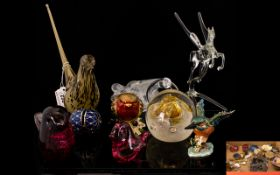 Collection of Glass comprising Wedgwood wren figure in striated confetti glass,