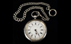 Victorian Period Large and Impressive Solid Silver Open Faced Chronograph Pocket Watch of Heavy