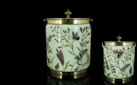 A 19th Century Continental Aesthetic Movement Opaline Glass Painted Enamels Biscuit Barrel Of
