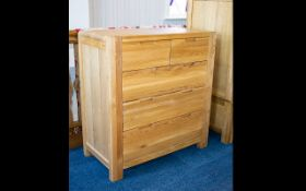 A Contemporary Golden Oak Scandinavian Style Large Chest Of Drawers Of Modern,