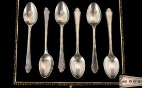 Art Deco Period Boxed Set of Six Silver Teaspoons.