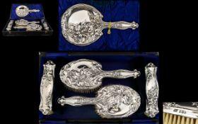 Art Nouveau Period 5 Piece Vanity Set Superb Narcissus Stylised Art Nouveau Decoration to All