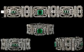 A Stunning 18ct White Gold Diamond And Emerald Set Cocktail Bracelet Of Pleasing Proportions Circa