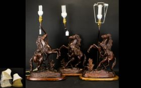 Three Figural Horse And Rider Table Lamps. Height 28 Inches.