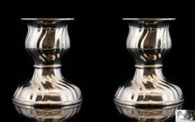 German - Late 19th Century Fine Pair of Silver Candlesticks of Excellent Form and Design.