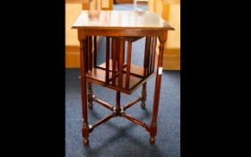 Early 20thC Mahogany Revolving Bookcase, Square Table Top With Bookcase Above A Turned Stretcher.