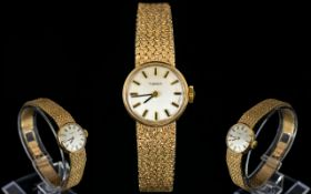 Tissot Ladies 9ct Gold Mechanical Wrist Watch with Mesh Bracelet. Fully Hallmarked for 9.375 Gold.