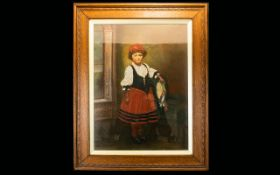 A Late 19th/ Early 20th Century Oil On Canvas Depicting a portrait of young girl with beribboned
