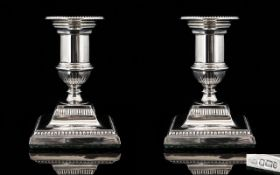George V - Classical Shaped Pair of Solid Silver Squat Candlesticks with Detachable Nozzles,