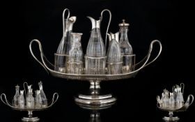 Regency Period Large and Impressive Revolving Silver Plated 8 Piece Condiment Set,