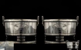 Ball Black and Co 1851 - 1874 New York Realistically Modelled Pair of Sterling Silver Salts,