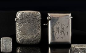 Anitque Period Pair of Silver Vesta Cases ( 2 ) In Total. Both Fully Hallmarked.