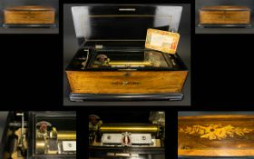 Pallard Vaucher Fills Swiss Made Late 19th Century Large and Impressive Inlaid Rosewood Lidded
