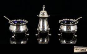 Mappin and Webb Solid Silver ( 5 ) Piece Cruet Set with Splayed Hoof From Support.