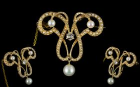 Antique Period Superb 14ct Yellow Gold Diamond and Seed Pearl Set Brooch of Exquistate Form with
