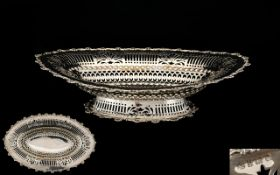 Edwardian Period - Attractive Solid Silver Open worked / Pierced Footed Fruit Bowl of Ovate Form,