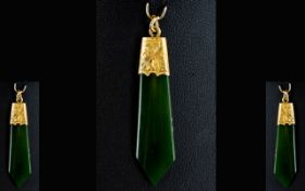 Antique 9ct Gold Mounted Jadeite Stone Pendant Of plain form with chased gold mounts, stamped 9c,