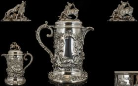 Robert Hennell III A Magnificent And Impressive Mid Victorian Period Sterling Silver Flagon Of