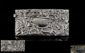 Victorian Period Fine Quaity Embossed Silver Card Case of Rectangular Form.