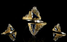 18ct Gold - Contemporary Designed Diamond and Sapphire Set ' Icicle ' Design.