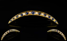 Victorian Period - Attractive 18ct Yellow Gold Sapphire and Pearl Set Cresent Moon Brooch,