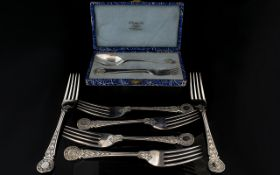 Boxed Sterling Silver Cutlery Set Housed in original fitted box comprising spoon and cake fork of