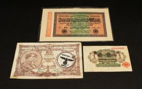 Three very interesting wartime banknotes.