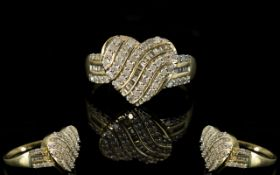 9ct Gold - Heart Shaped Baguette and Brilliant Cut Diamond Set Dress Ring, Attractive Form.