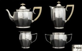 Art Deco Period Stunning Solid Silver 4 Piece Tea and Coffee Service with Bakelite Handles,