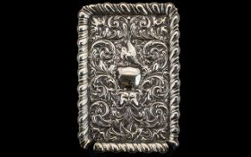 Art Nouveau - Impressive Rectangular Shaped Solid Silver Embossed Ornate Tray of Superior