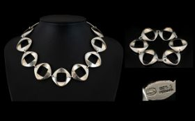Henning Kopel (1918-1981) For Georg Jensen Danish Modernist Sterling Silver Necklace And Bracelet