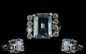 Ladies - Nice Quality Large and Impressive 9ct Gold Aquamarine and Diamond Set Dress Ring.