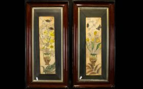 A Pair Of Watercolours Still Life Vases With Flowers Mounted And Framed. Early 20th Century.