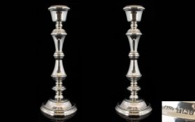 Elizabeth II - Early Period Good Quality Pair of Silver Candlesticks of Pleasing Form and The