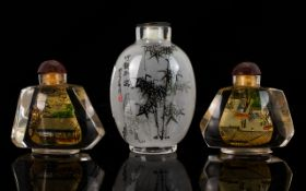 A Collection Of Three Oriental Glass Snuff Bottles All with painted decoration,