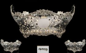 Edwardian Period Superb Quality Sterling Silver Large and Impressive Footed Center Piece / Bowl,