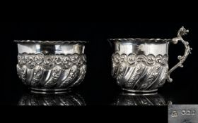 Victorian Period Very Ornate / Embossed Matched Pair of Silver Milk Jug and Bowl.