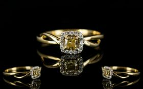 18ct Yellow Gold Attractive and Pleasing Diamond Set Dress Ring, Marked 18ct,