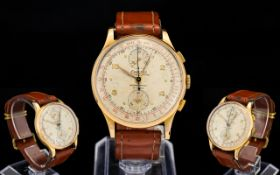 18ct Gold Cased Gents Exactus - Chronograph Mechanical Wrist Watch with Attached Leather Tan Strap.