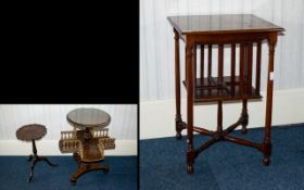 A Walnut Revolving Bookcase With trefoil base, gallery midsection and castors,