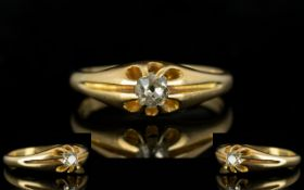 Edwardian Gents 18ct Gold Gypsy Set Single Stone Diamond Ring,
