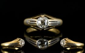 Gents - 18ct Gold and Platinum Single Stone Diamond Gypsy Set Dress Ring.