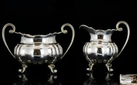 Art Deco Period Nice Quality Pair of Sterling Silver Twin Handle Milk Jug and Sugar Bowl,